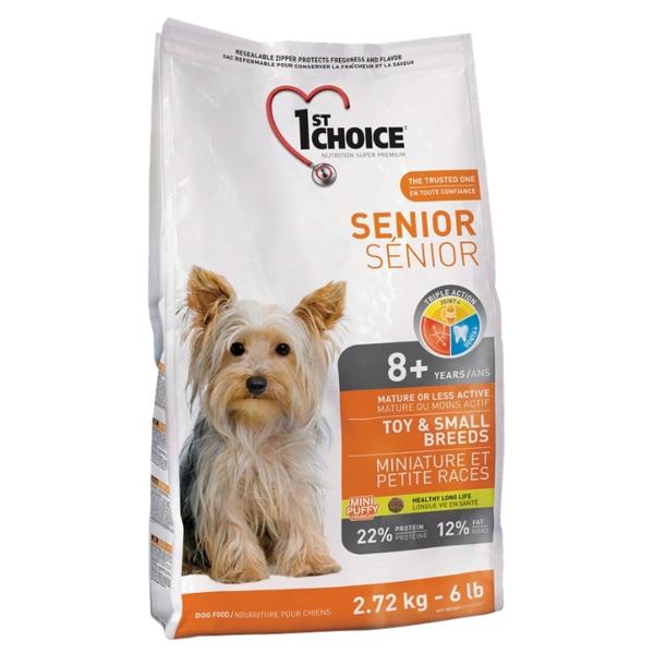 Корм сухой 1ST CHOICE SENIOR TOY & SMALL для собак старше 8 лет мелких пород с курицей 2.72кг